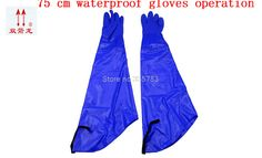 75CM Lengthened protective gloves high quality Oil resistant Acid and alkali leather working gloves Lined with cotton guantes