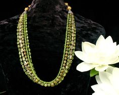 Multistrand Necklace  Peridot Hessonite by ByDivineCollectibles, $285.00