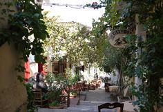 Picturesque street restaurant sitting, Greece