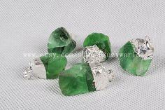 Silver Plated Rough Green Fluorite Pendant Bead by Druzyworld