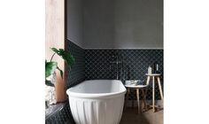 Flabellum black, mat czarna matowa mozaika ceramiczna w ksztalcie rybiej luski Bathtub, Bathroom, Black, Standing Bath, Washroom, Bathtubs, Black People, Bath Tube, Full Bath