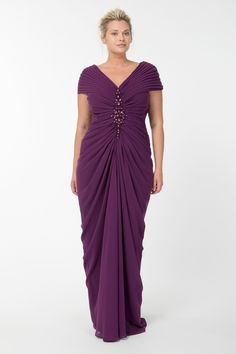 Chiffon Draped V-Neck Gown in Barberry - Evening Gowns - Plus Size Evening Shop | Tadashi Shoji