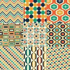 """Papier peint """"rectangle, orange, jaunes - seamless rétro impression"""" ✓ Un large choix de matériaux ✓ Impression écologique 100% ✓ Regardez des opinions de nos clients !"""