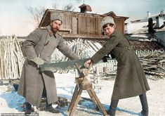 This image shows Tsar Nicholas II and his son, Alexei, sawing wood in captivity in Tobolsk. Court Attire, Russian Revolution 1917, Anastasia Romanov, Joseph Stalin, Tsar Nicholas Ii, Winter's Tale, Imperial Russia, Black And White Pictures, Colour Images