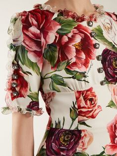 Dolce & Gabbana Peony-print silk-charmeuse dress