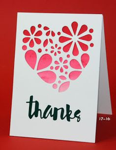 Sion Says Stamp die heart of flowers and painted thanks with Talens ecoline watercolor panel behind openings Valentine Images, Valentine Theme, Valentine Day Cards, Pop Up Cards, Cool Cards, Cards Diy, Card Making Inspiration, Making Ideas, Thank U Cards