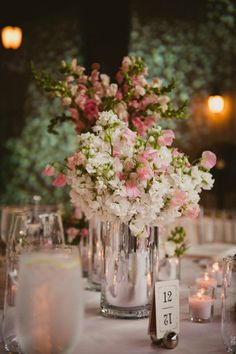 Nice size centerpieces...but too much pink and white in the arrangement
