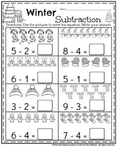Kindergarten Math and Literacy Printables – January - Kindergarten Lesson Subtraction Kindergarten, Kindergarten Math Worksheets, Kindergarten Lessons, Teaching Math, Math Activities, Addition Activities, Math Math, Math Literacy, Teaching Spanish