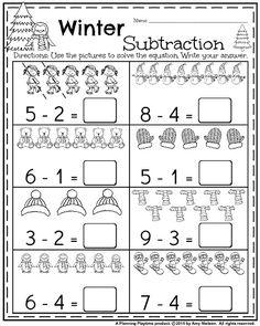 Kindergarten worksheets for January - Winter subtraction