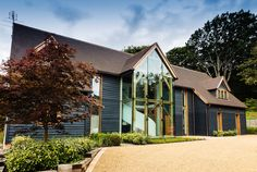 How to get the perfect seal, Oak Framed Glazing Barn Conversion Exterior, Barn Conversions, Roof Styles, House Styles, Glass Porch, Oak Framed Buildings, Oak Frame House, Bungalow Renovation, Dark House