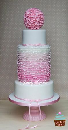 Ombre Frills Wedding Cake