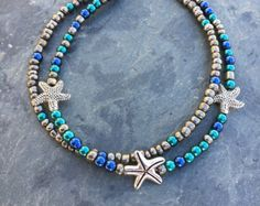 Anklet Ankle Bracelet Light Blue Dangles Beaded Anklet