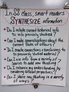 "I would adjust the vo… ""Synthesizing"" Anchor Chart (Social Studies) high school. I would adjust the vocab for middle school. 7th Grade Social Studies, Social Studies Classroom, Social Studies Activities, History Classroom, Teaching Social Studies, History Teachers, Teaching History, Science Classroom, Classroom Ideas"