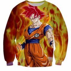 3D Printed Dragon Ball Goku Fire Flame Sweatshirt