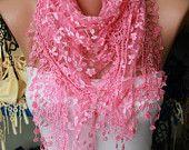 Lace Scarf  Shawl Scarf  Women Shawl Scarf - Cowl Scarf - Candy Pink - fatwoman