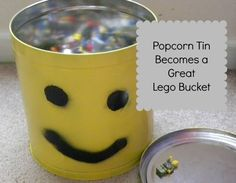 Popcorn Tin Lego Man - Love recycling something old and making something fun! Tin Can Crafts, Crafts To Make, Diy Crafts, Storage Buckets, Lego Storage, Lego Bucket, Craft Projects For Kids, Craft Ideas, Tin Can Alley
