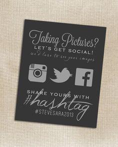 Wedding Instagram, Facebook, Twitter Black Hashtag card