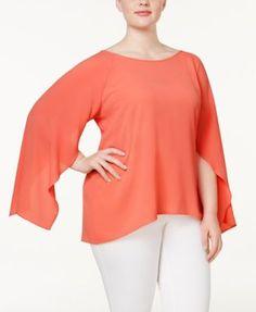 Calvin Klein Plus Size Bell-Sleeve Blouse $52.99 Calvin Klein offers a soft, feminine interpretation of a classic plus size blouse. The bell sleeves feature asymmetrical cuffs that flutter in the breeze as you move.