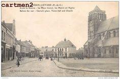 HENIN-LIETARD AVANT LA GUERRE PLACE CARNOT MAIRIE ET EGLISE 62 - France