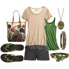 I can do without the accessories but love the outfit and flip flops :)