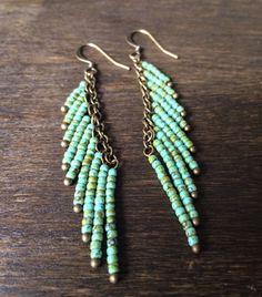 Turquoise Beaded Fringe Earrings, Bohemian Fringe Earrings, Long Bohemian Earrings, Turquoise Earrings, Beaded Bohemian Earrings by EsunaJewelry on Etsy https://www.etsy.com/listing/473629645/turquoise-beaded-fringe-earrings