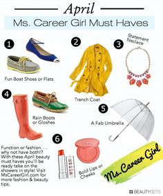 April showers bring...spring style! Ms. Career Girl April Must-Haves