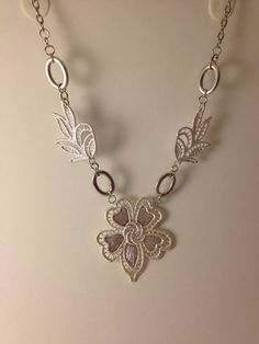 Metal lace pendant statement necklace  collar by MynisaUnique, $27.99
