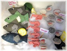 felt food fish shrimp clams pattern downloadable