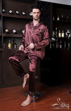 Silk Men's Pajamas Men Loungewear Silk Pajama by SilkyAffection