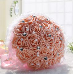 Wedding Flowers Bridal Bouquet Rose Artificial Flower Bouquets Wedding Decorative Bridesmaid Flower Bouquet Crystals Pearls