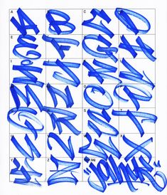 Graffiti Letters: 61 Graffiti Artists Share Their Style Bomb Science . Tag Alphabet, Graffiti Lettering Alphabet, Graffiti Alphabet Styles, Tattoo Lettering Fonts, Lettering Styles, Hand Lettering, Calligraphy Alphabet, Grafitti Letters, Islamic Calligraphy