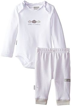 Kushies UnisexBaby Newborn Long Sleeve Bodysuit and Pant Set White Solid Print Pant White SolidPrint Pant 12 Months >>> Want to know more, click on the image.