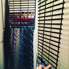 Perfect tie holder my hubby made. Used hinges to allow us to pull it away from wall. Let me know if you need to know what hinged we used. Thanks Darlene :-) Tie Storage, Scarf Storage, Tie Hanger, Tie Rack, Tie Organization, Men Closet, Master Bedroom Closet, Dream Closets, Bbq