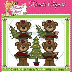 Brown Christmas Bear Girl 1 Clipart Digital Zip by MaddieZee