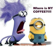 Minions Despicable Me 2 Coffee Talk, Coffee Is Life, I Love Coffee, Coffee Break, My Coffee, Morning Coffee, Coffee Shop, Coffee Maker, Purple Minions