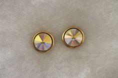 Vintage Avon Faceted Crystal Stud Pierced Earrings