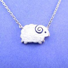 Little Mountain Goat Ram Sheep Shaped Animal Charm Necklace in Silverhttps://goo.gl/bMEeG2