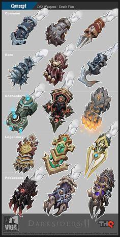 [武器]Darksiders II Concept Art – Death Fists by Jonathan Kirtz Game Concept Art, Character Concept, Character Art, Character Design, Weapon Concept Art, Armor Concept, Prop Design, Game Design, Armas Ninja