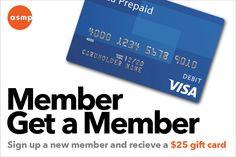 Member Get a Member – Get a $20 Visa Gift Card! Visa Gift Card, Gift Card Giveaway, Card Holder, Website, Cards, Gifts, Presents, Map, Favors