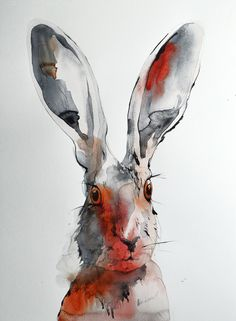 Hare original watercolor painting. One of a kind artwork. Water colour rabbit. Water color animal drawing. Unique gift, watercolour picture.