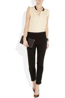 My signature look: girly nude-pink top, black pants, leopard heels.  Add a tuxedo or leather jacket and you're good to go