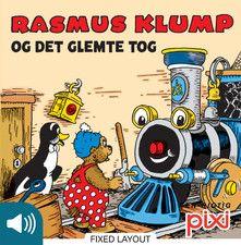 Rasmus Klump og det glemte tog. Her kan man vælge at få historien læst op eller prøve at læse denne pixibog selv.