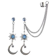 Blackheart Hematite Sun Moon Drop Earring Cuff Set Hot Topic ($15) ❤ liked on Polyvore featuring jewelry, earrings, chain dangle earrings, drop earrings, tribal earrings, cuff stud earrings and cuff earrings