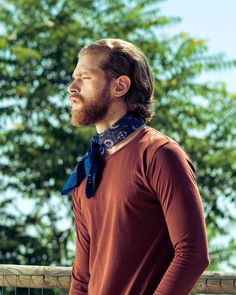 aisley and medallions give make this neckerchief a timeless addition to your wardrobe. Navy blue, blues, brown and white. Men Scarf, Neckerchiefs, Bandanas, What To Wear, Paisley, Scarves, Blues, Navy Blue, Models