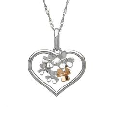 Diamond set 9ct white gold Love Shamrock large open heart pendant #houseoflor #irishjewelry #irishgold #pendant #whitegold #rosegold