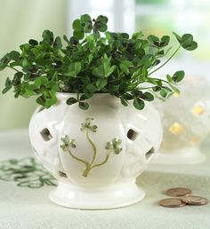 Shamrocks and Lucky pennies~pretty for the table