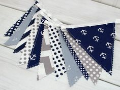 Bunting Banner, Photography Prop, Fabric Flags, Baby, Nautical Nursery Decor - Gray, Navy Blue, Chevron, Stripes and Anchors