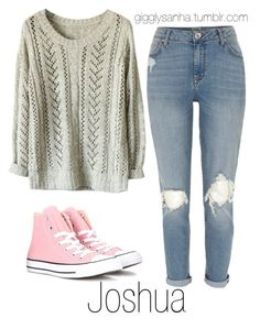 """Casual City Date // Joshua"" by suga-infires ❤ liked on Polyvore featuring River Island and Converse"
