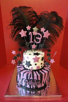 Pink & black zebra 13th birthday cake