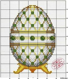 Fabergé Egg #2 • Chart for Green and Gold Geometric Design on White Background